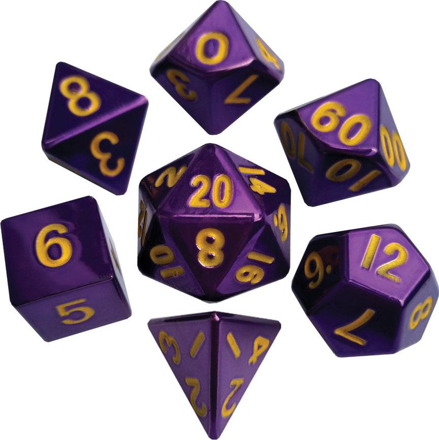 16mm Purple Painted Metal Polyhedral Dice Set Game Box