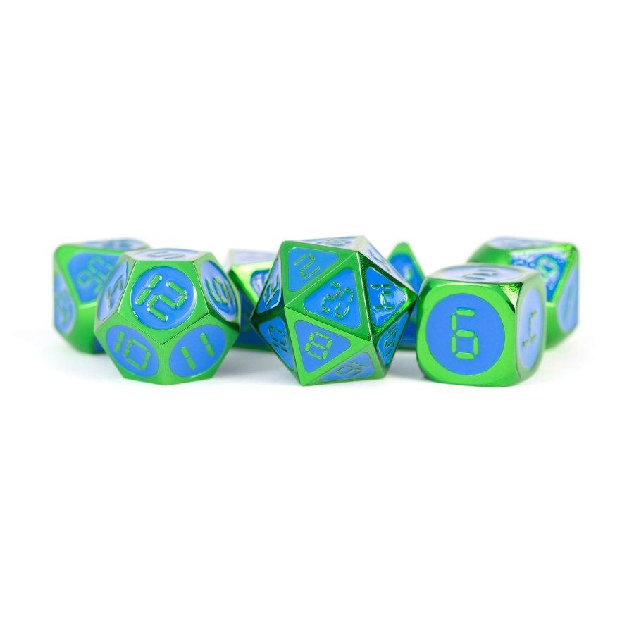 Digital Enamel Metal Dice Set, 16mm: Green With Blue Enamel Game Box