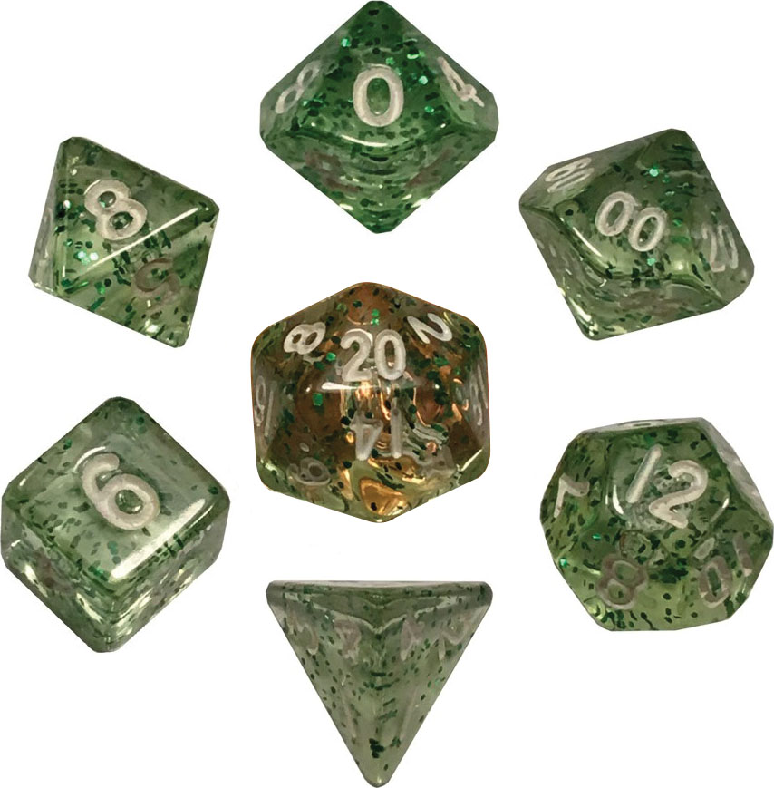 Mini Polyhedral Dice Set: Ethereal Green With White Numbers Game Box