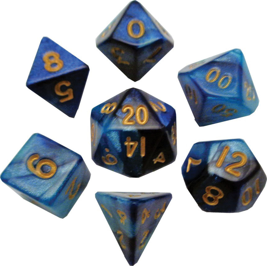 Mini Polyhedral Dice Set: Dark Blue/light Blue With Gold Numbers Game Box