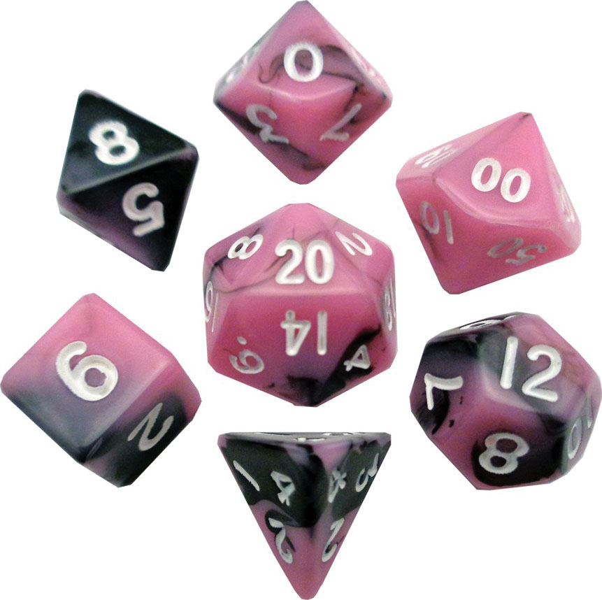 Mini Polyhedral Dice Set: Pink/black With White Numbers Game Box