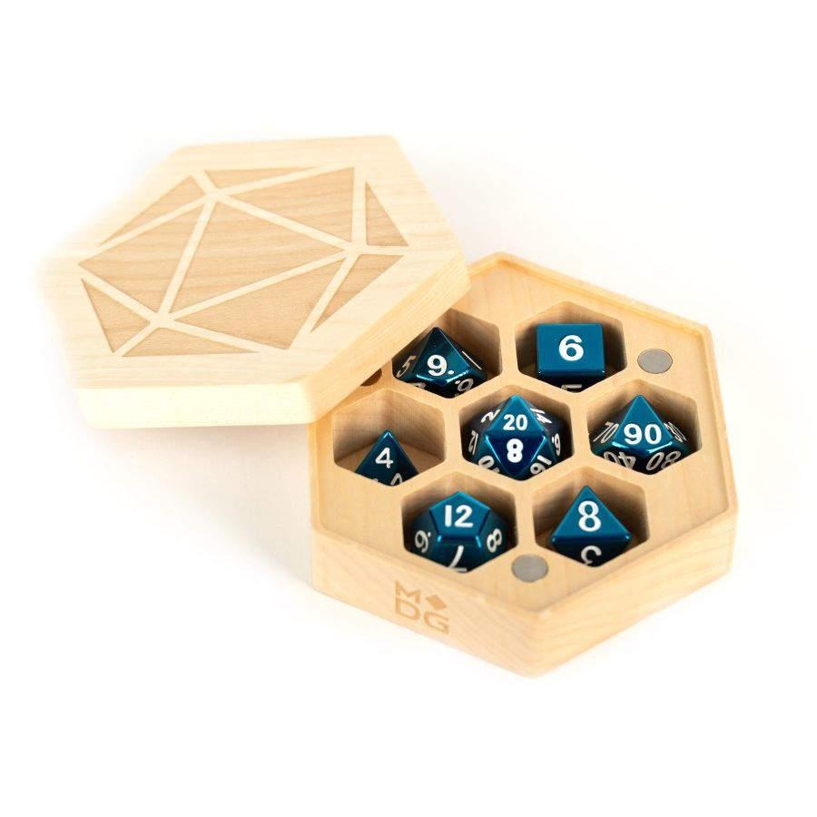 Premium Wood Hex Chest Dice Case: Maple Game Box