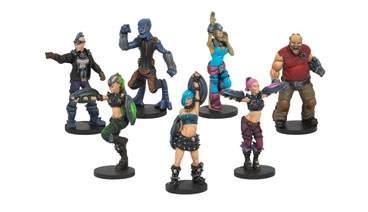 Dreadball: Beauties & The Mob, Fans & Cheerleader Pack (7) Box Front