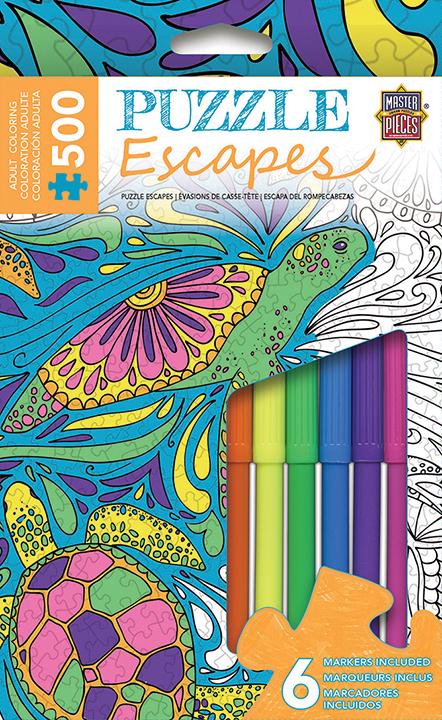Puzzle Escapes: Animals Coloring: Undersea 500pc Box Front