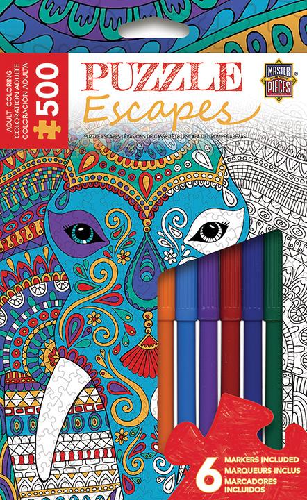 Puzzle Escapes: Animals Coloring: Elephant 500pc Box Front