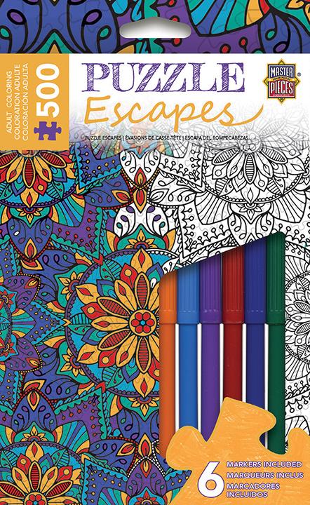 Puzzle Escapes: Mandalas Coloring: Pattern 500pc Box Front