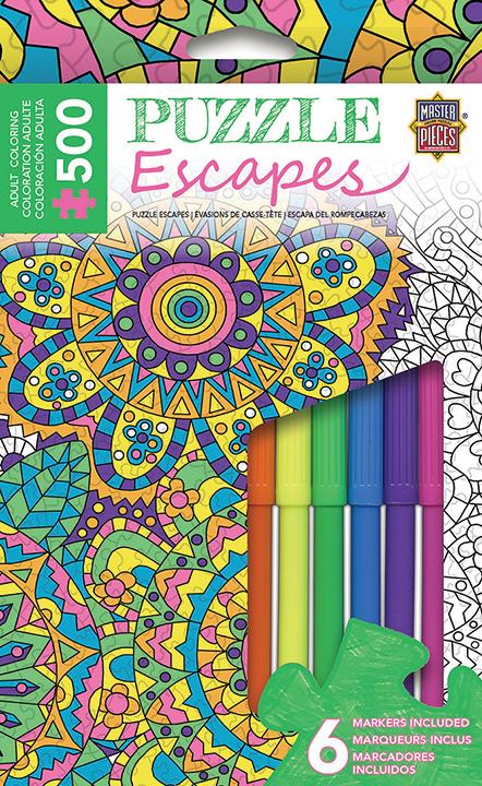 Puzzle Escapes: Mandalas Coloring: Flowers 500pc Box Front