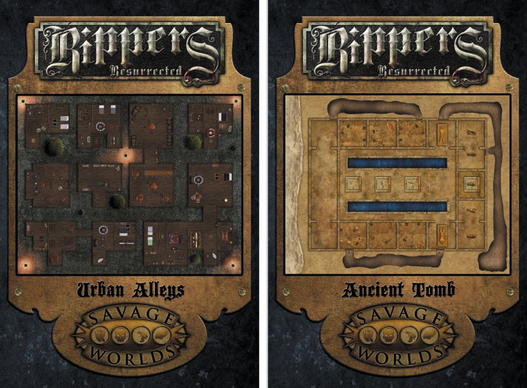 Savage Worlds Rpg: Rippers Resurrected - Map 2: Urban Alleys/ancient Tombs Box Front