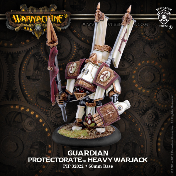 Warmachine: The Protectorate Of Menoth Guardian Heavy Warjack (white Metal) Box Front