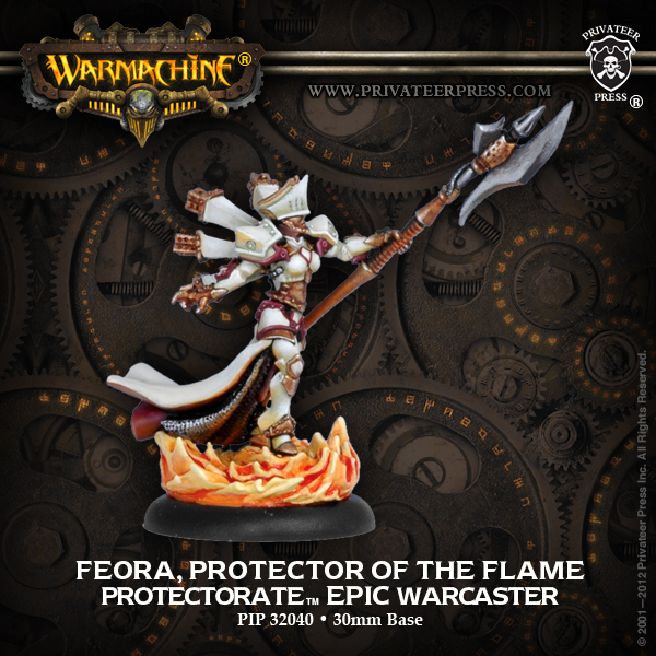 Warmachine: The Protectorate Of Menoth Feora, Protector Of The Flame Epic Warcaster (white Metal) Box Front