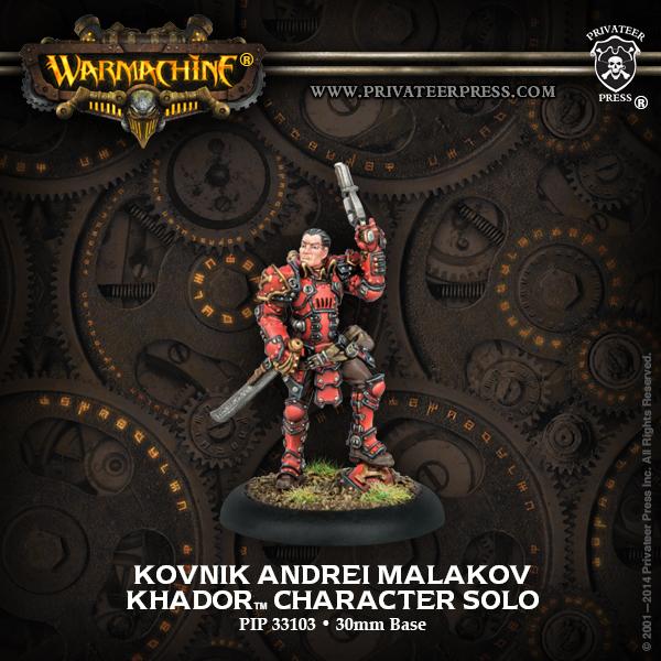 Warmachine: Khador Kovnik Andrei Malakov Character Solo (white Metal) Box Front