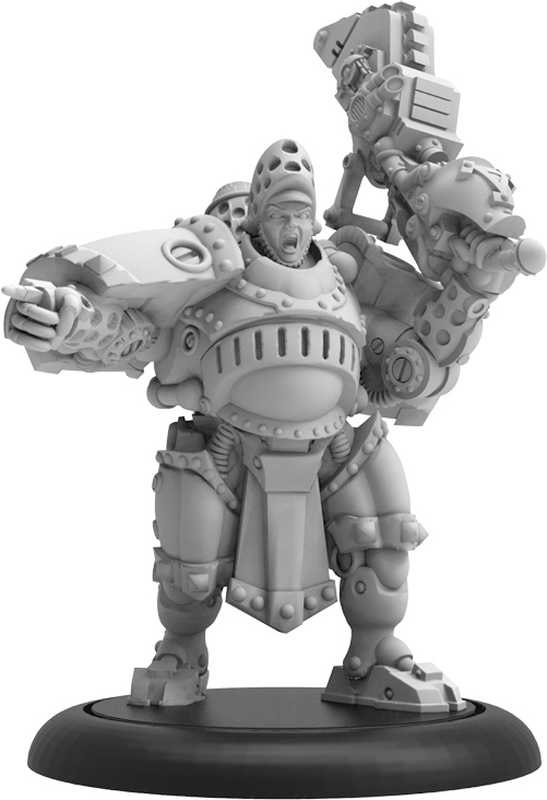 Warmachine: Khador Man-o-war Bombardier Officer Command Attachment (resin And White Metal) Box Front