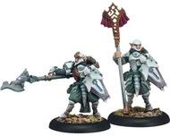 Warmachine: Retribution Of Scyrah Houseguard Riflemen Officer And Standard Unit Attachment (white Metal) Box Front