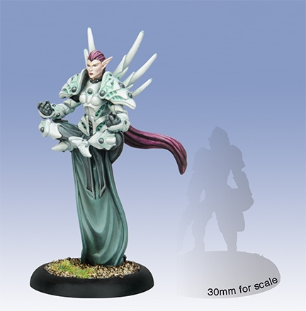 Warmachine: Retribution Of Scyrah Issyria, Sibyl Of Dawn Warcaster (white Metal) Box Front