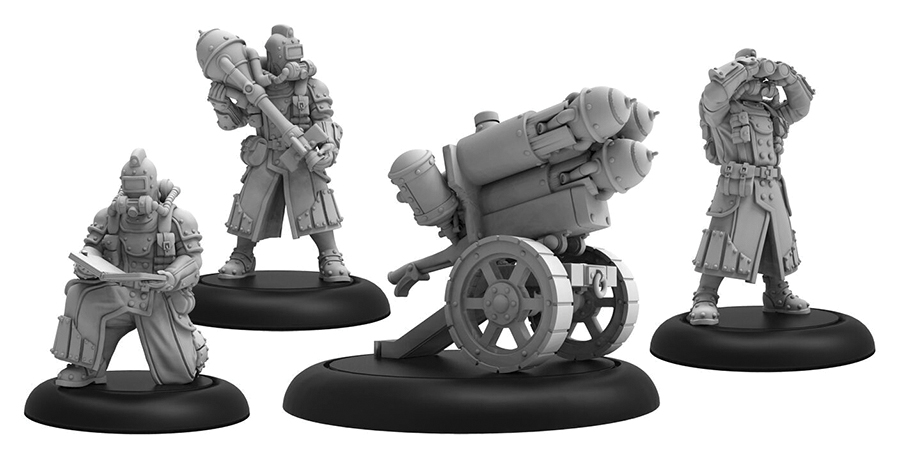 Warmachine: Golden Crucible Dragon`s Breath Weapon Crew Unit (3) (resin And White Metal) Box Front