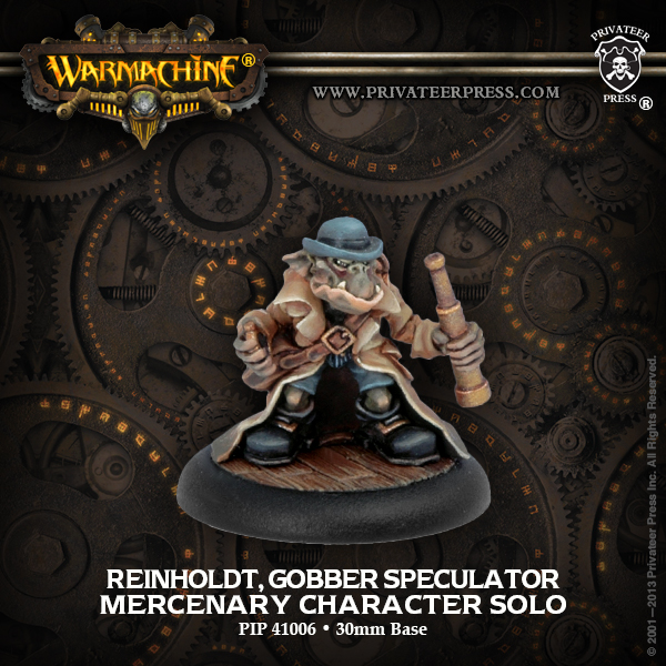 Warmachine: Mercenaries Reinholdt, Gobber Speculator Character Solo (white Metal) Box Front