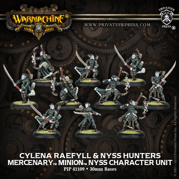 Warmachine: Mercenaries Cylena Raefyll And Nyss Hunters Nyss Character Unit (white Metal) Box Front