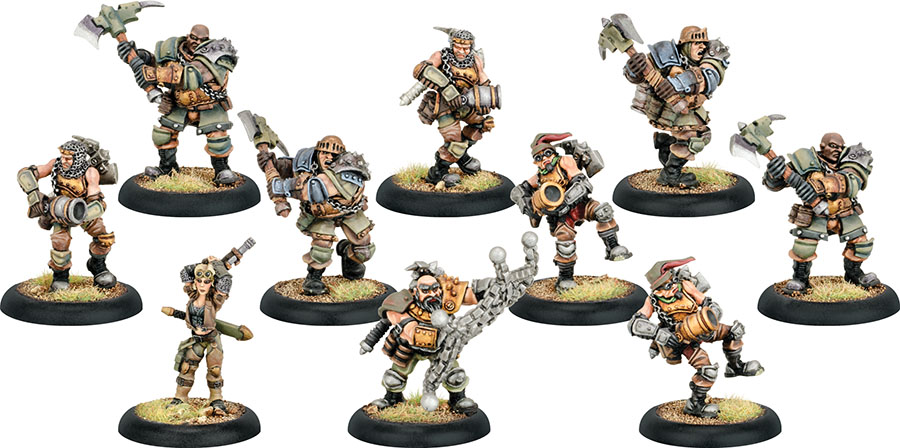 Warmachine: Mercenaries Captain Sam Machorne & The Devil Dogs Character Unit (white Metal) Box Front