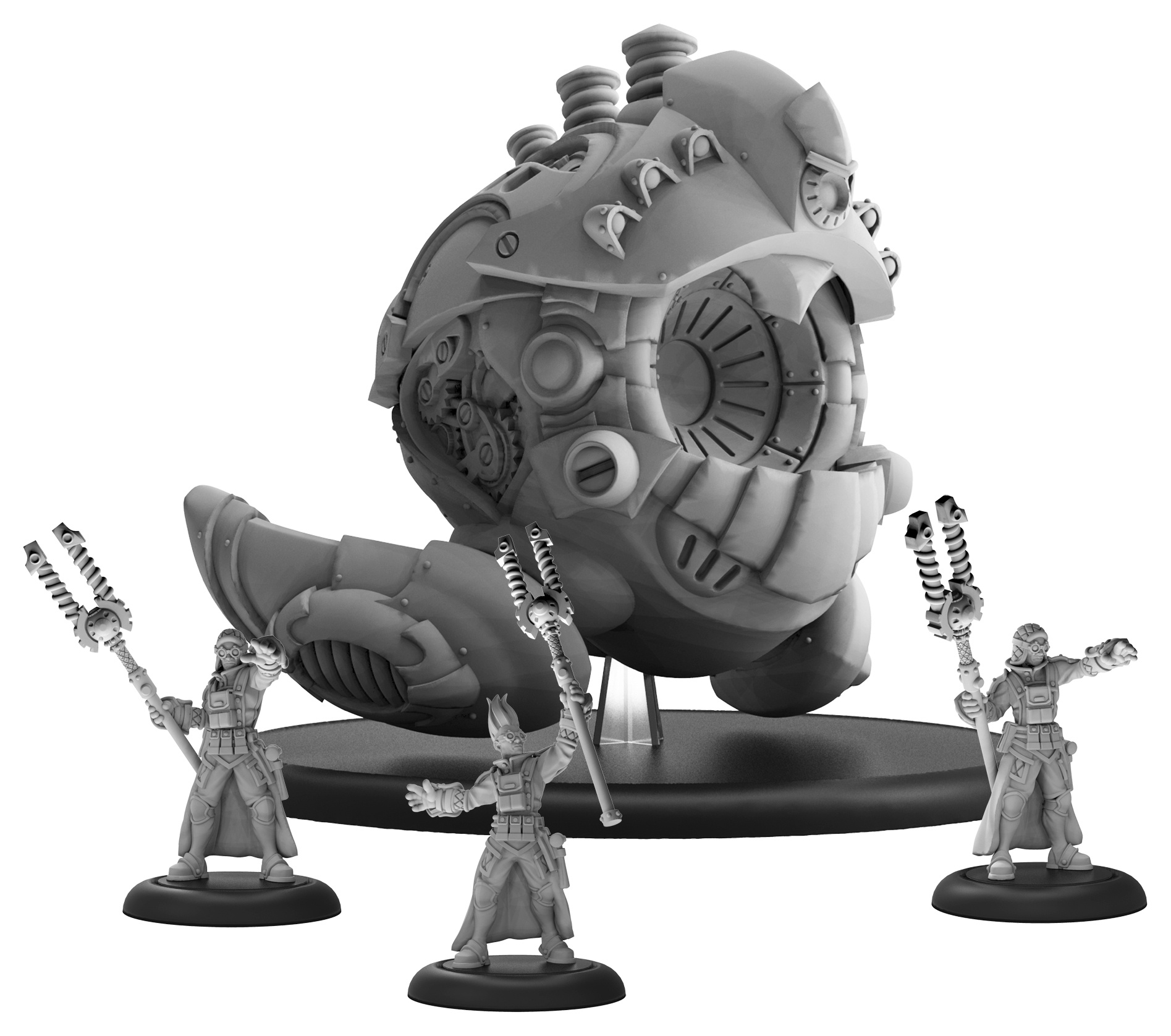 Warmachine: Mercenaries Prime Artificer Nemo & Arcane Mechaniks Battle Engine (resin And White Metal)