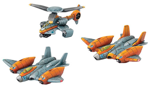 Monsterpocalypse: G.u.a.r.d. Strike Fighters & Rocket Chopper Unit (resin) Game Box
