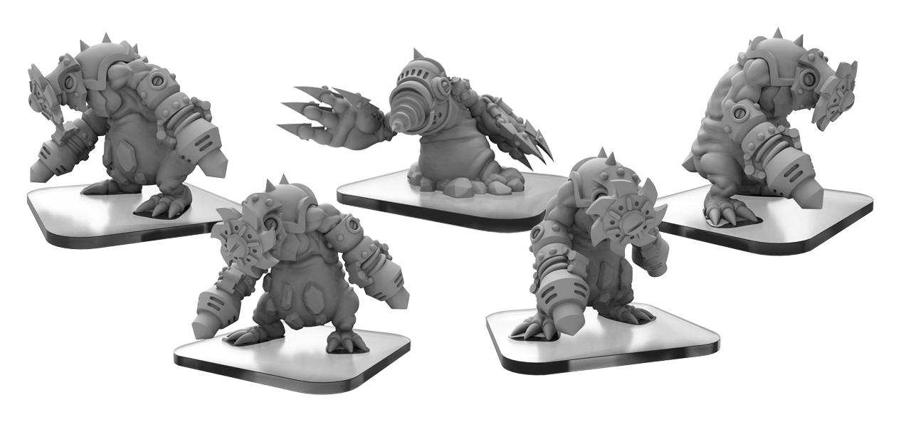 Monsterpocalypse: Mollock Brutes And Mollock Berserker Subterran Unit (white Metal)