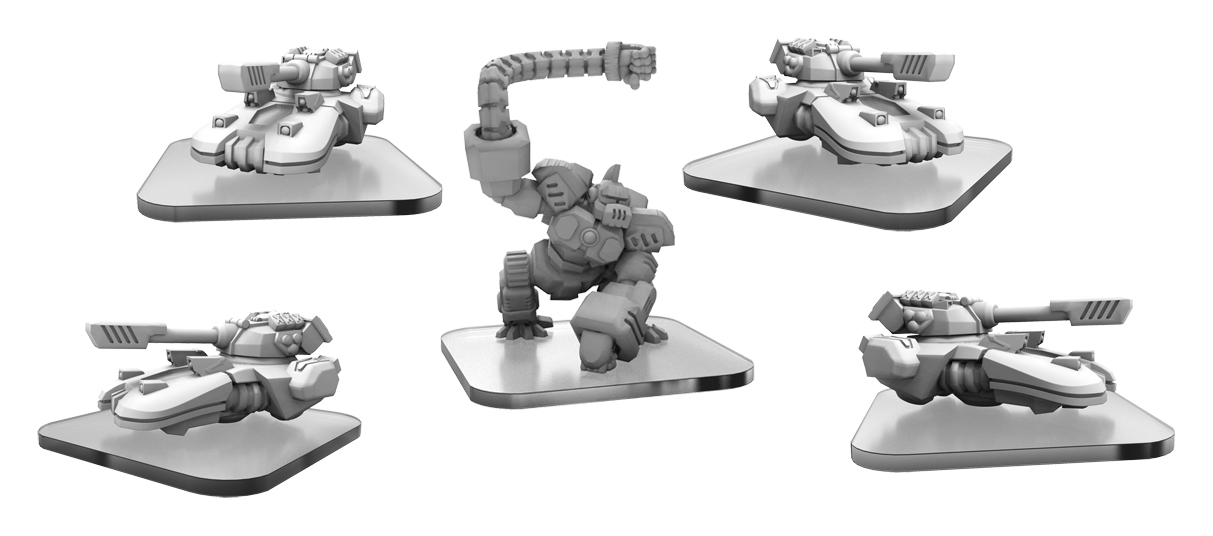 Monsterpocalypse: Uber Corp International U-tanks And Aaapebot Unit  (white Metal)