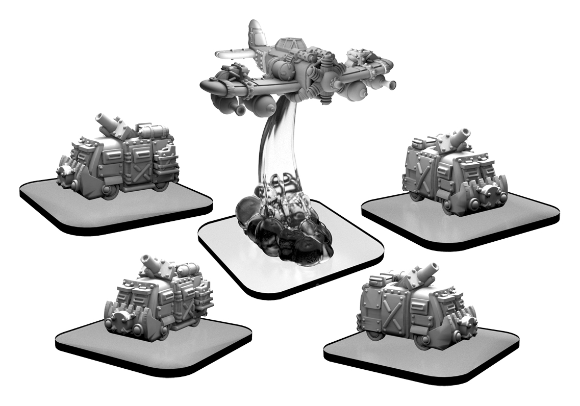 Monsterpocalypse: Scavenger Vans And Scrapper Green Fury Unit (white Metal)