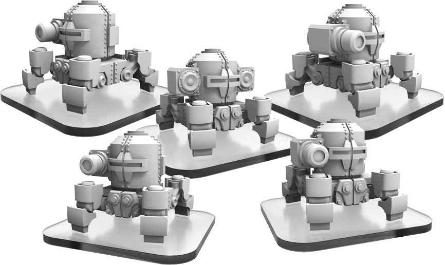 Monsterpocalypse: Zerkalo Bloc Ww82s (4) And Propo Walker (1) Unit (resin And White Metal)