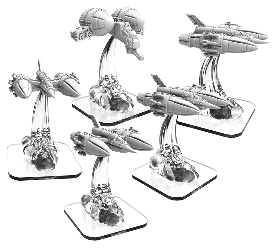 Monsterpocalypse: Zerkalo Bloc Lta Fighters (4) And Lta Gunship (1) Unit (resin And White Metal)