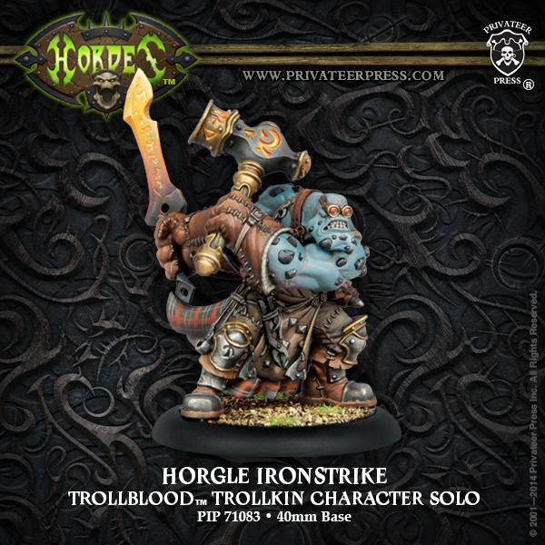 Hordes: Trollblood Horgle Ironstrike Trollkin Character Solo (white Metal) Box Front
