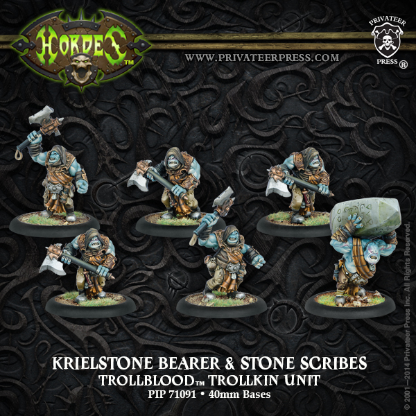 Hordes: Trollblood Trollkin Krielstone Bearer & Stone Scribes Unit (resin And White Metal) Box Front
