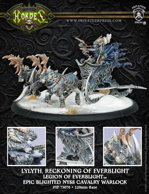 Hordes: Legion Of Everblight Lylyth, Reckoning Of Everblight Nyss Cavalry Warlock (white Metal) Box Front