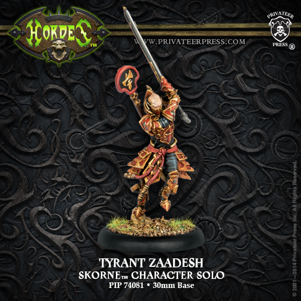 Hordes: Skorne Tyrant Zaadesh Character Solo (white Metal) Box Front