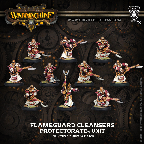 Warmachine: The Protectorate Of Menoth Flameguard Cleansers Unit (white Metal) Box Front