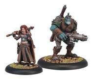 Warmachine: Mercenaries Dannon Blythe And Bull Minion Character Unit (white Metal) Box Front