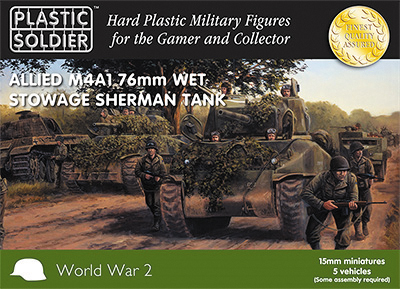 15mm Easy Assembly: Sherman M4a1 76mm Wet Tank Box Front