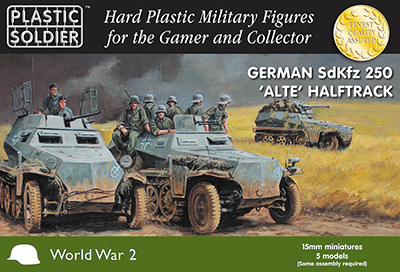 15mm Easy Assembly: German Sdkfz 250 Alte Halftrack Box Front