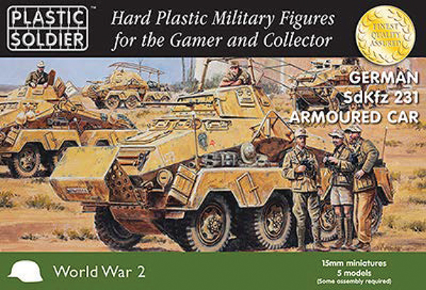 15mm Easy Assembly: German Sdkfz 231 8 Rad Heavy Armoured Car Box Front