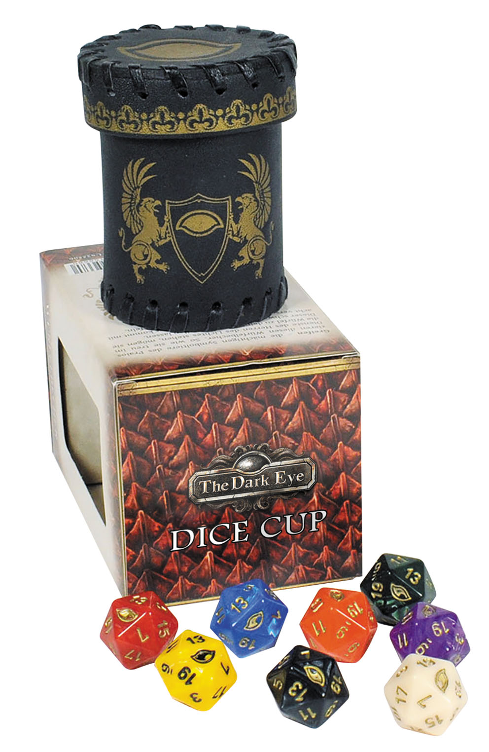 The Dark Eye Rpg: Dice Cup With 8 D20 Box Front