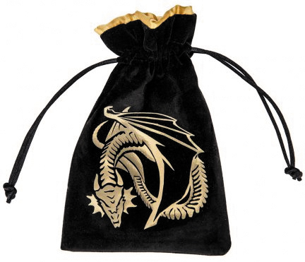 Dice Bag: Dragon Black/golden Velour Box Front