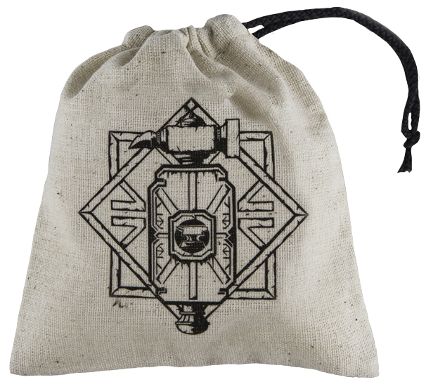 Dice Bag Basic: Dwarven Beige/black Box Front