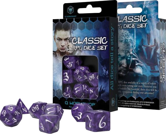 Classic Rpg Lavender & White Dice Set (7) Game Box