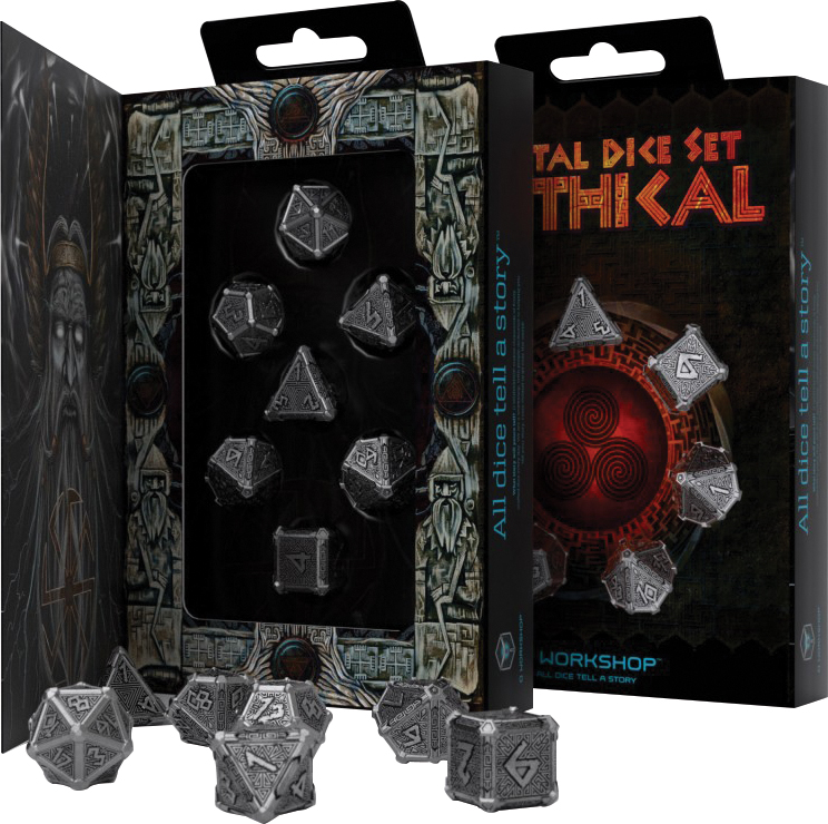 Metal Dice Set: Mythical (7) Box Front