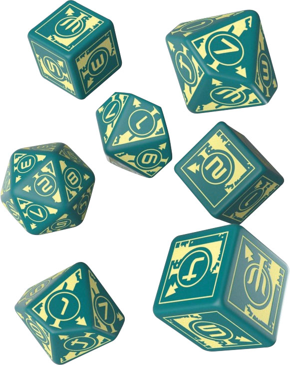 Polaris Rpg Turquoise & Light Yellow Dice (7) Game Box