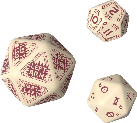 Runequest Beige & Burgundy Expansion Dice (3) Game Box