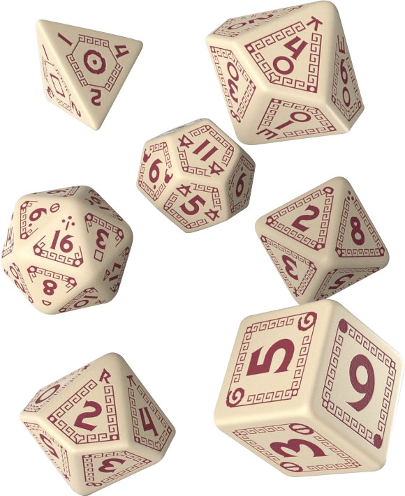 Runequest Beige & Burgundy Dice Set (7) Game Box