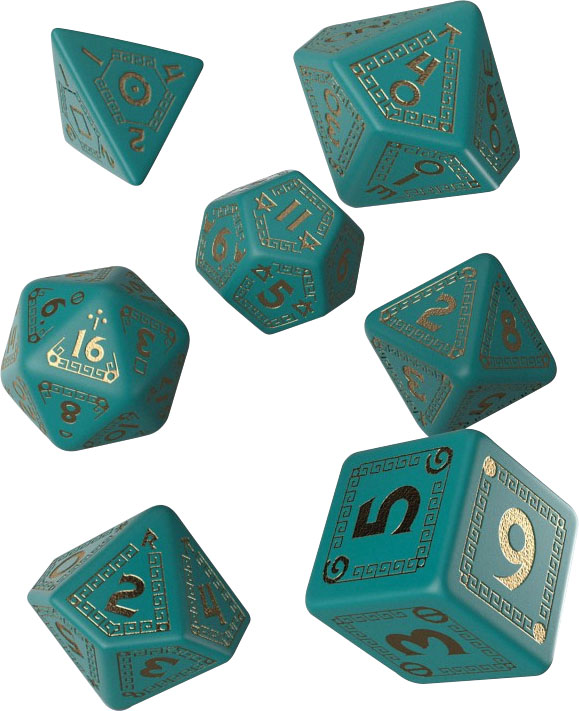 Runequest Turquoise & Gold Dice Set (7)  Game Box