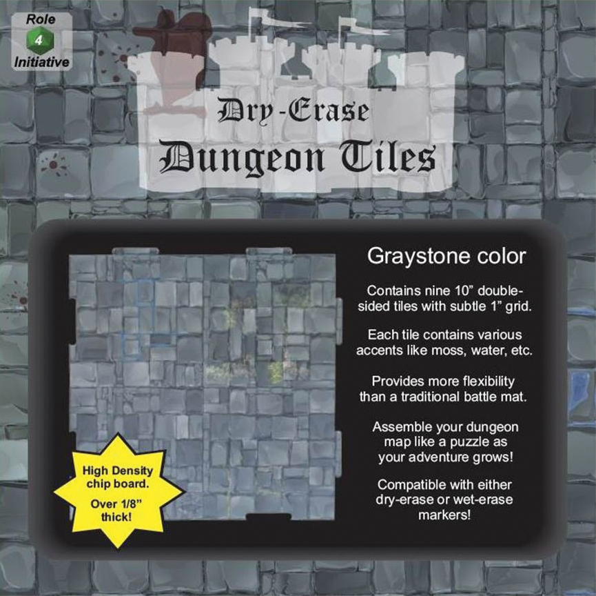 Dry Erase Dungeon Tiles: Graystone - Pack Of 9 Ten Inch Squares Box Front