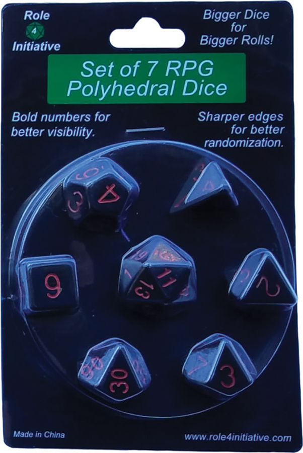 Polyhedral Dice: Opaque Black With Red Numbers - Set Of 7 Box Front