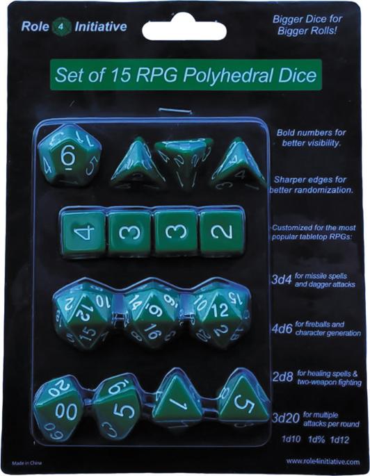 Polyhedral Dice: Opaque Dark Green With White Numbers - Set Of 15 Box Front